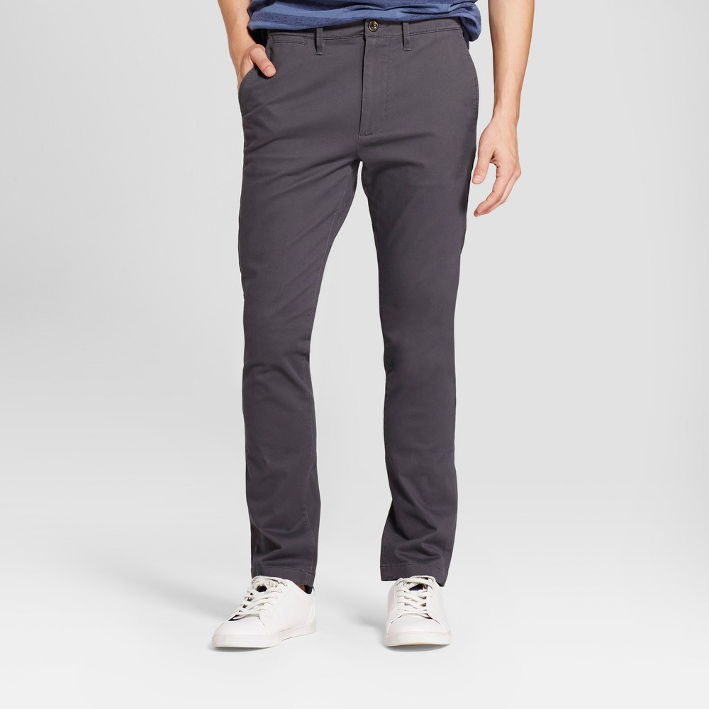 Mens Skinny Fit Hennepin Chino Pants - Goodfellow & Co Dark Gray 36X32