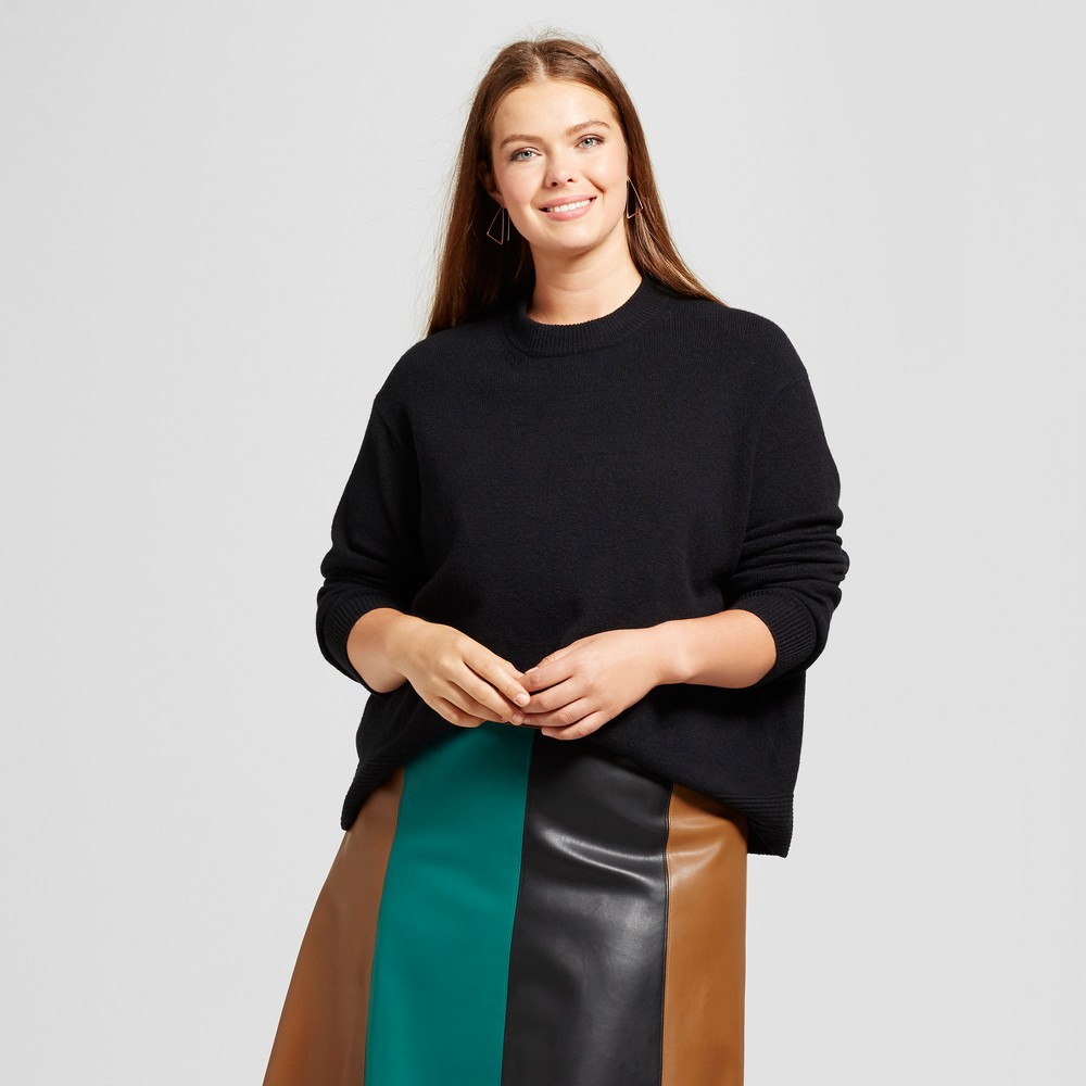 Womens Plus Size Cropped Ottoman Sweater - Who What Wear Black 4X