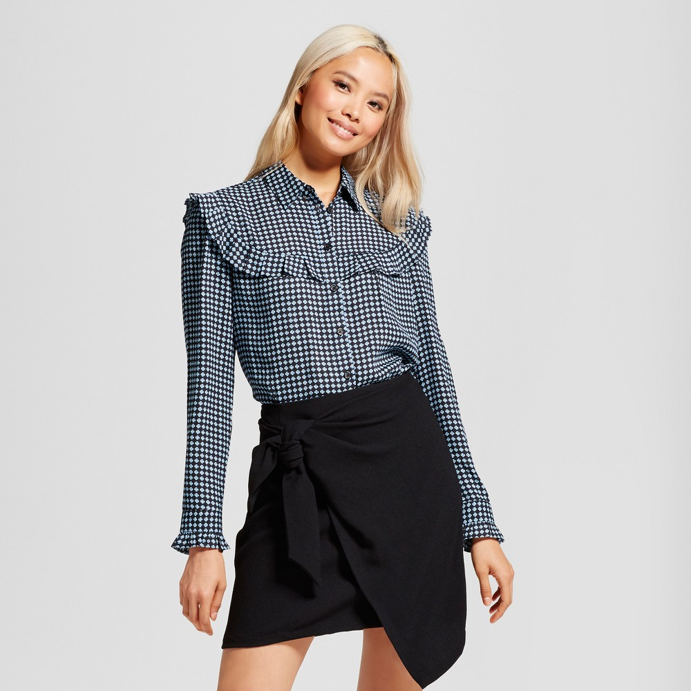 Womens Silky Pioneer Blouse - Who What Wear Black M