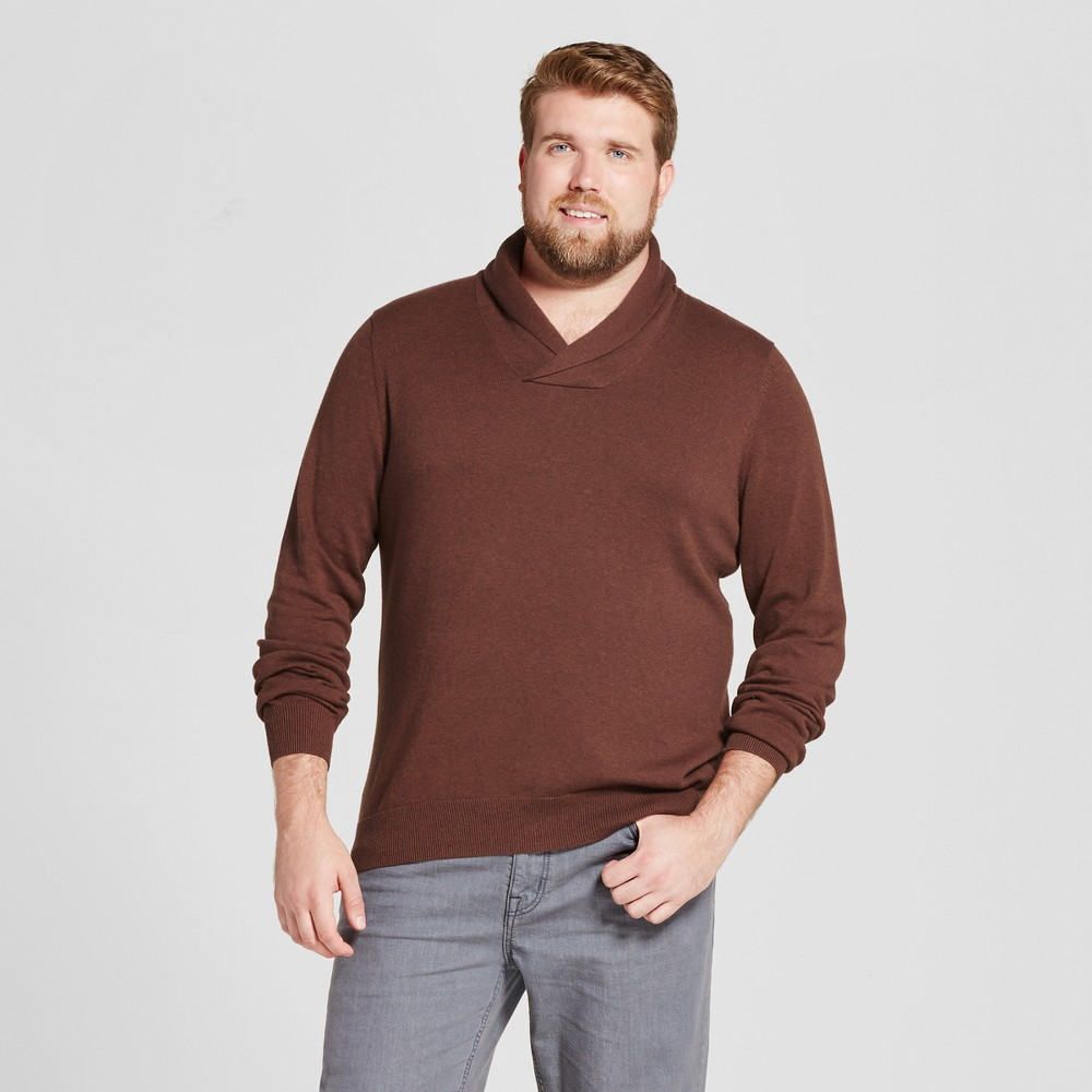 Mens Big & Tall Pullover Shawl Collar Sweater - Goodfellow & Co Rust (Red) 2XB