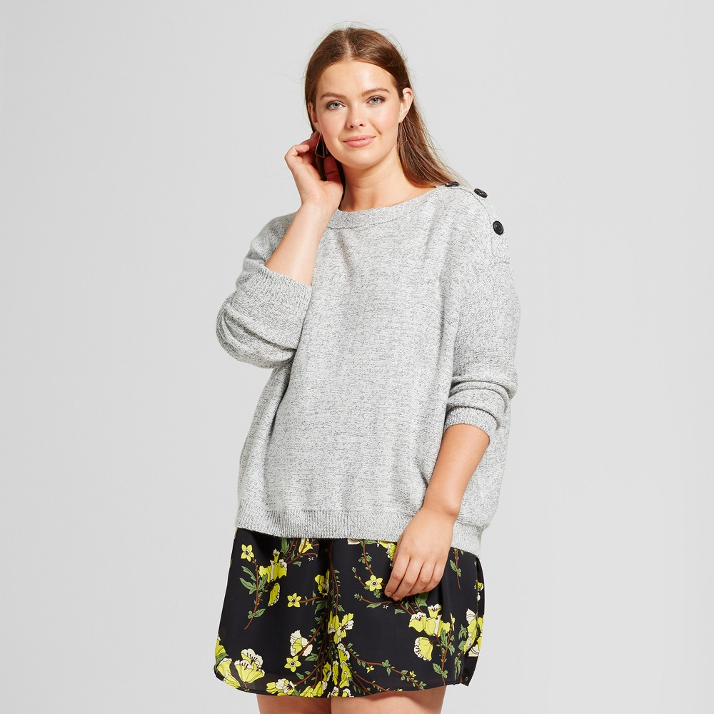 Womens Plus Size Slouchy Off Shoulder Sweater - Who What Wear Gray 4X