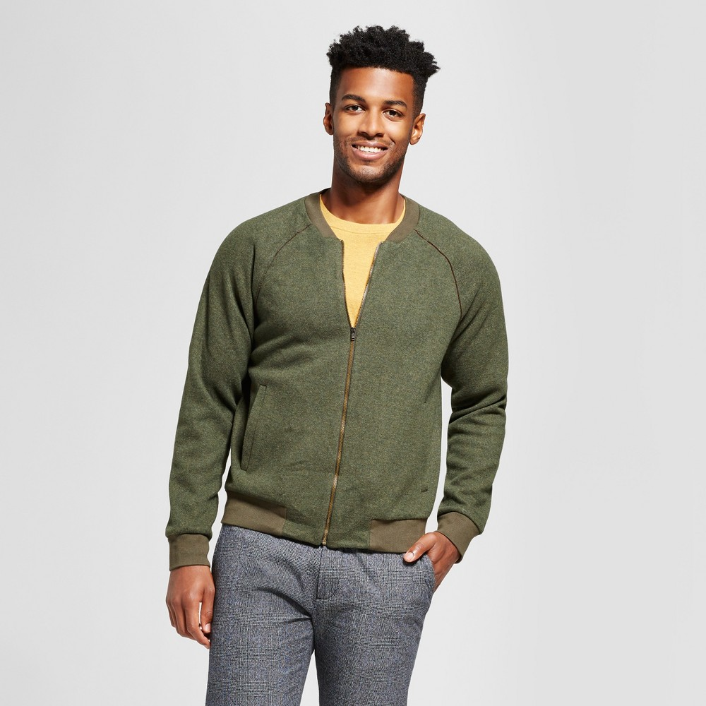 Mens Standard Fit Bomber Sweater - Goodfellow & Co Olive (Green) M