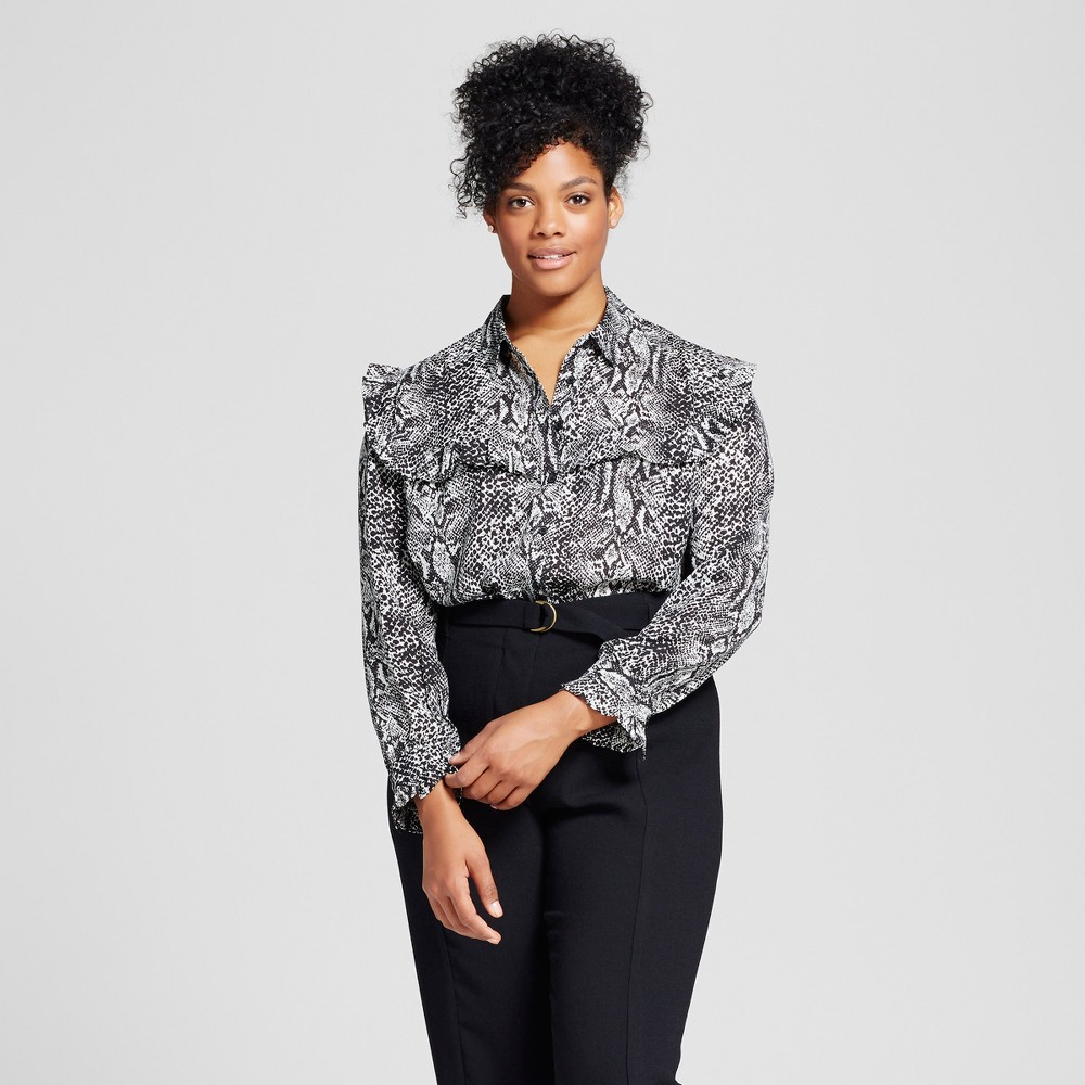 Womens Plus Size Silky Pioneer Blouse - Who What Wear Snakeskin 1X
