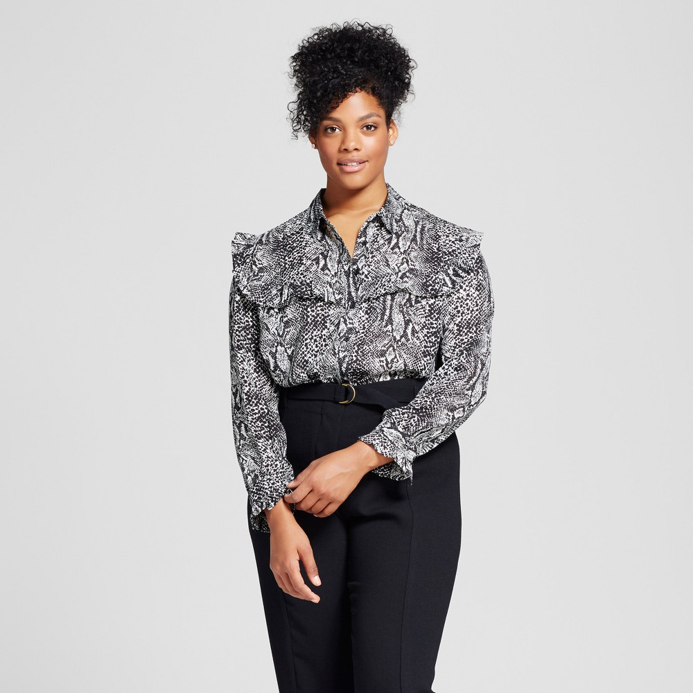 Womens Plus Size Silky Pioneer Blouse - Who What Wear Snakeskin 3X