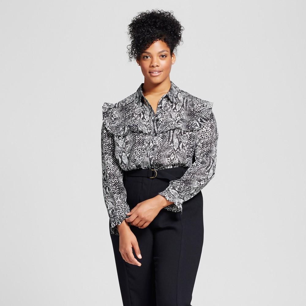 Womens Plus Size Silky Pioneer Blouse - Who What Wear Snakeskin 3X