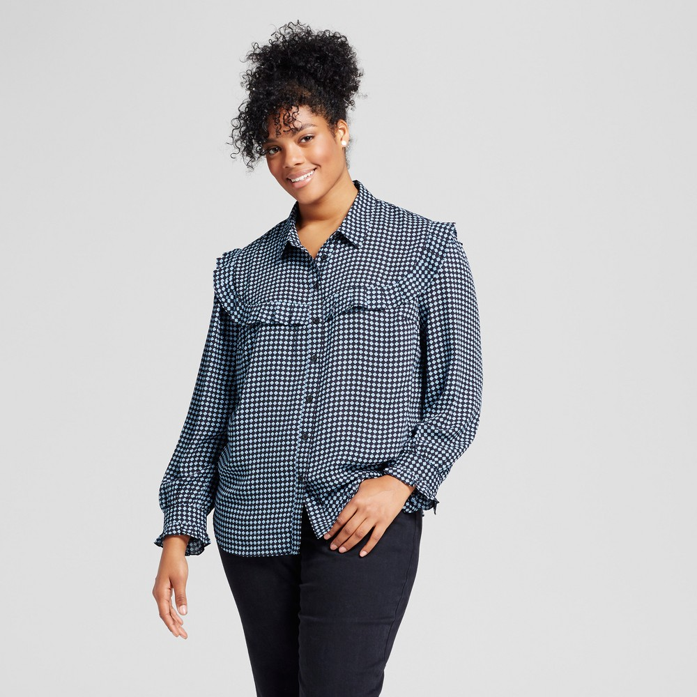 Womens Plus Size Silky Pioneer Blouse - Who What Wear Black Plaid 2X