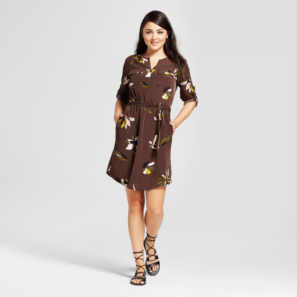 Womens Convertible Sleeve Shirt Dress - Mossimo Brown Floral Xxl