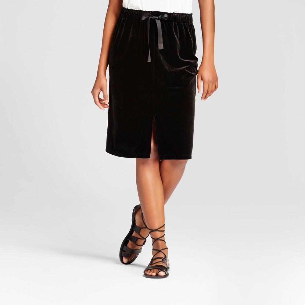 Womens Velvet Pencil Skirt - Mossimo Black XL