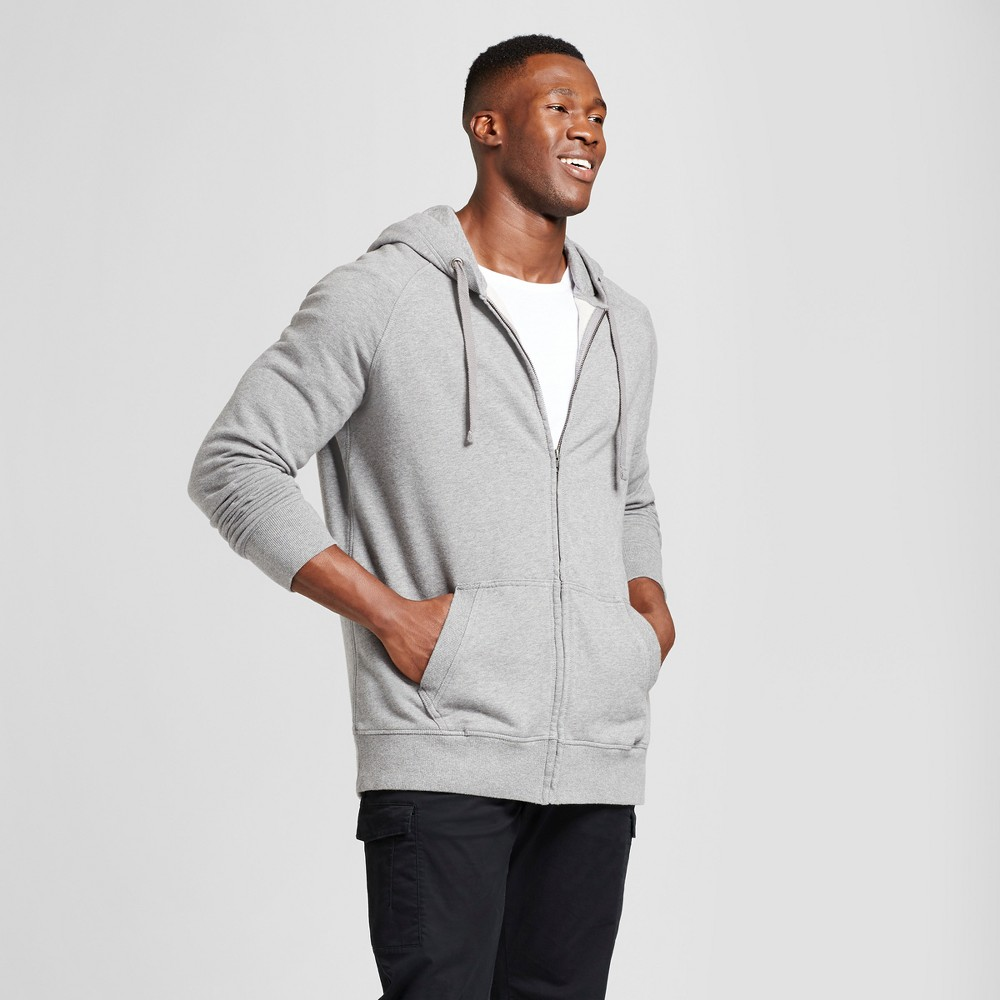 Mens Big & Tall Standard Fit Long Sleeve French Terry Full-zip Hoodie - Goodfellow & Co Light Gray 3XB