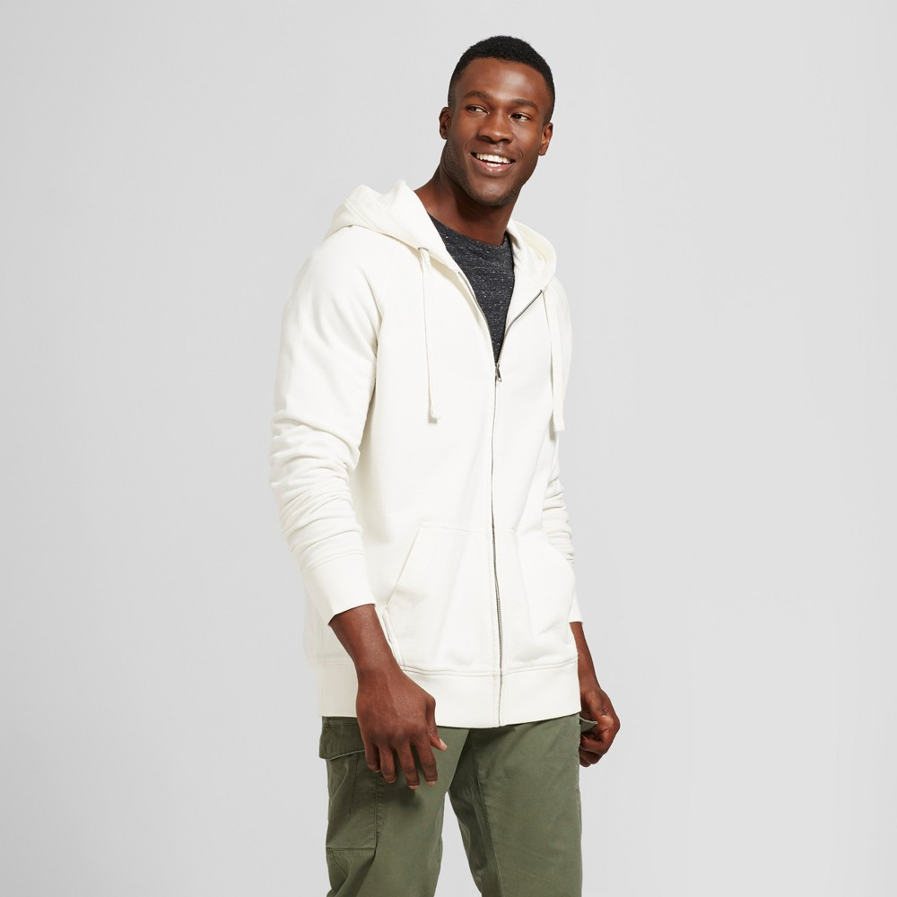 Mens Big & Tall Standard Fit Long Sleeve French Terry Full-zip Hoodie - Goodfellow & Co White 2XB