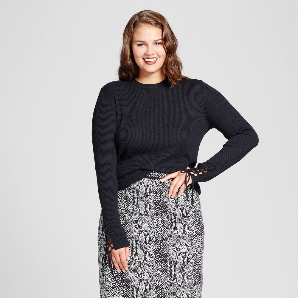 Womens Plus Size Lace Up Sleeve Sweater - Who What Wear Black X