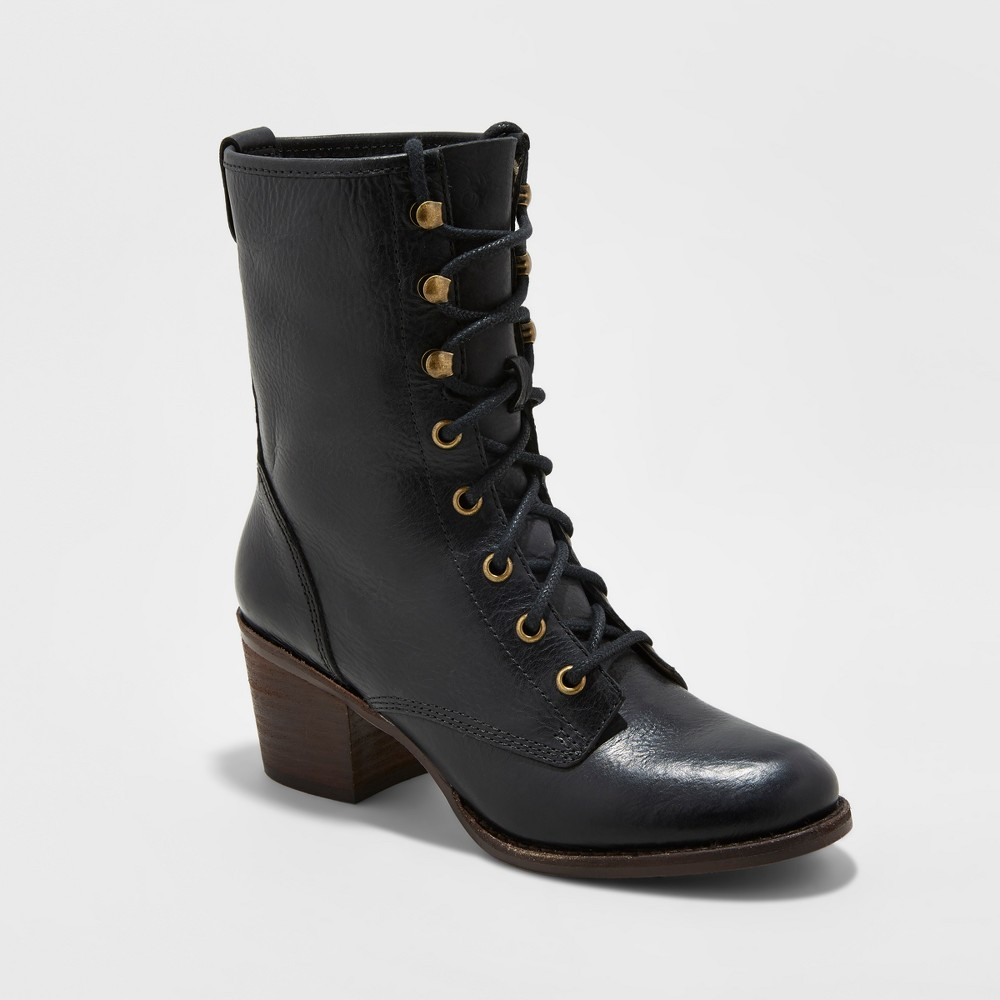 Womens Soho Cobbler Cameliah Leather Trooper Boots - Black 6.5