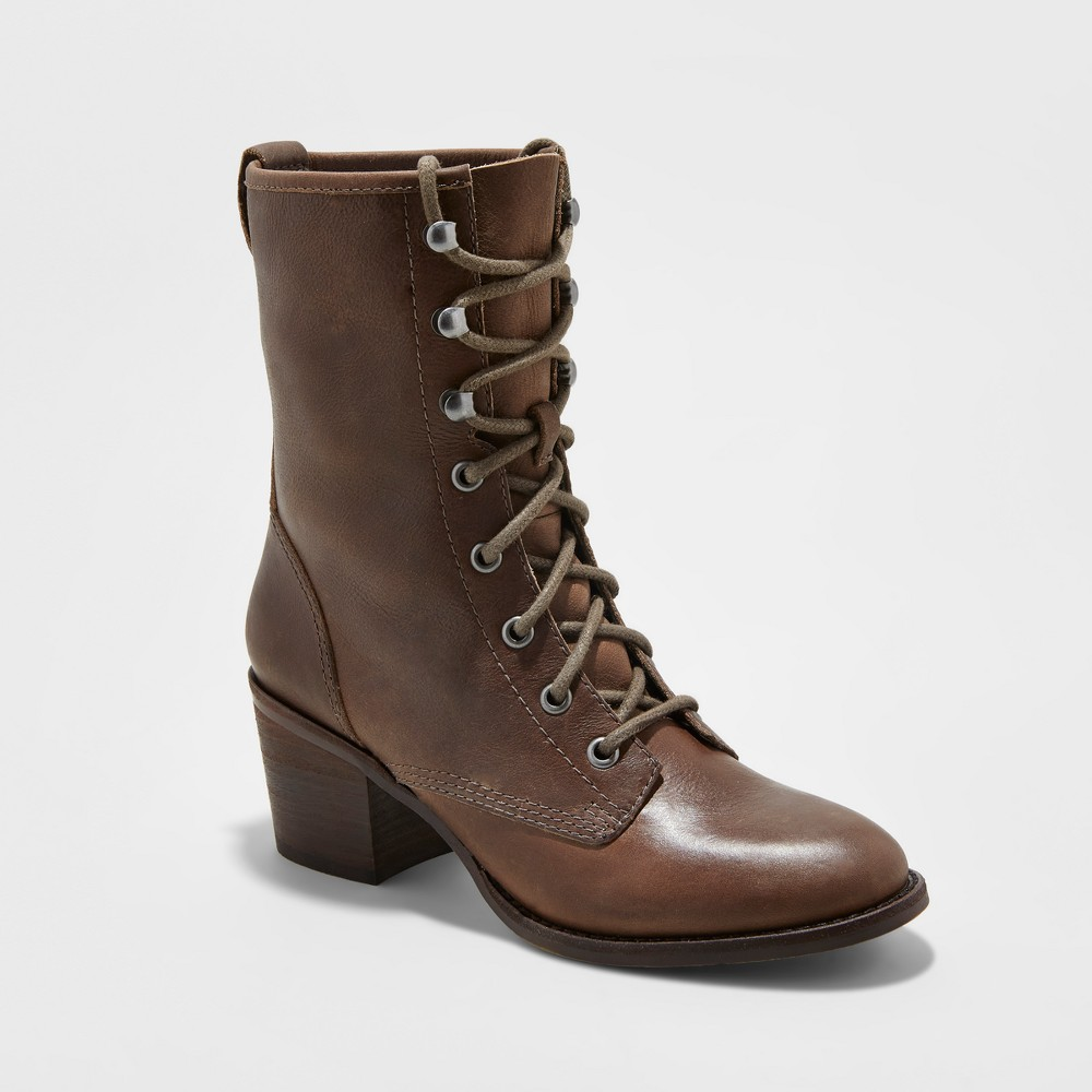 Womens Soho Cobbler Cameliah Leather Trooper Boots - Light Taupe 7