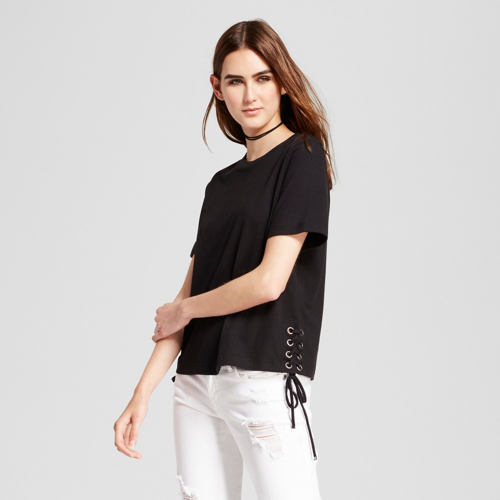 Womens Short Sleeve Top with Side Lace-Up Detail - Mossimo Black M