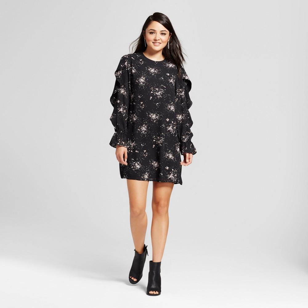 Womens Flounce Long Sleeve Shift Dress - Mossimo Black Print M