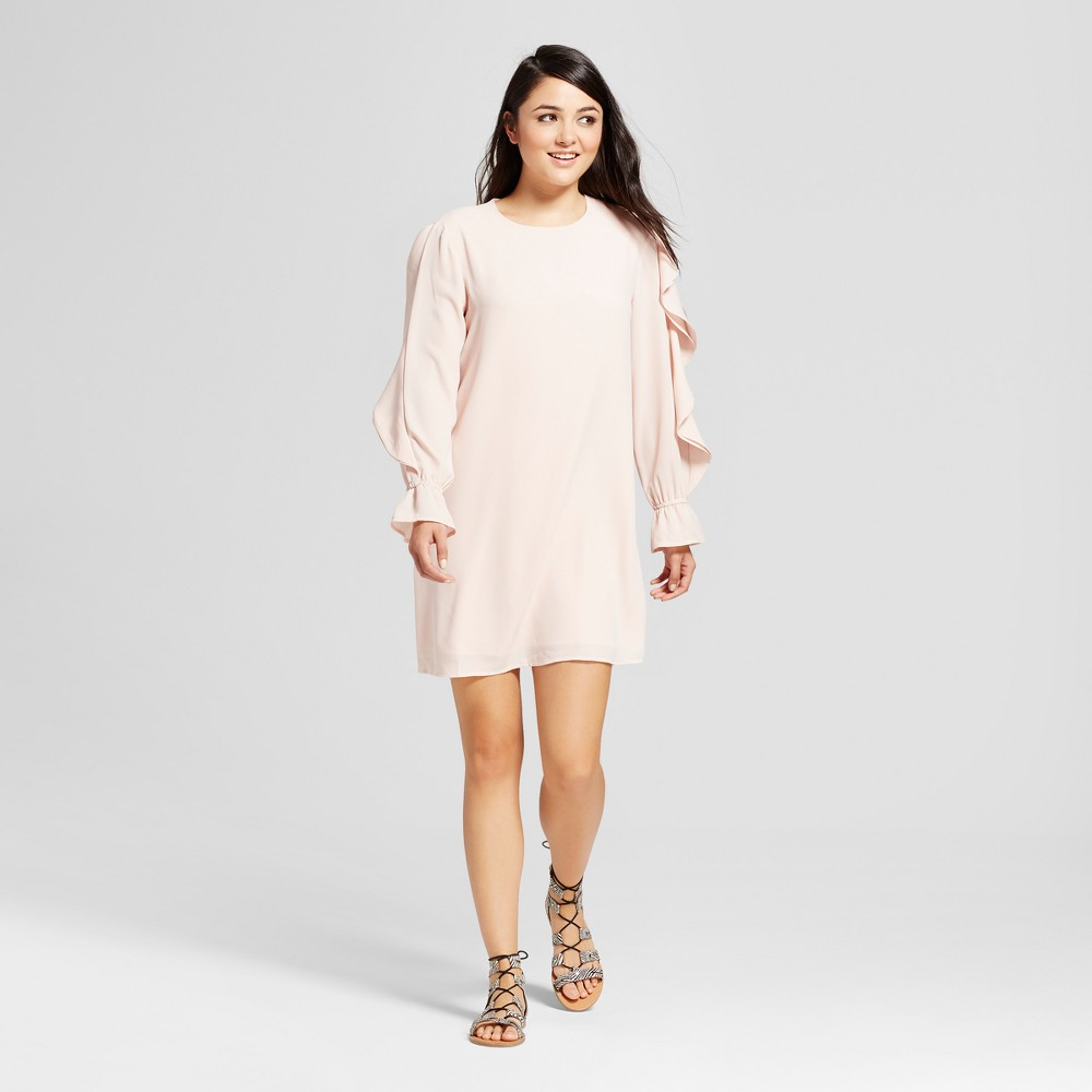 Womens Flounce Long Sleeve Shift Dress - Mossimo Light Pink XL