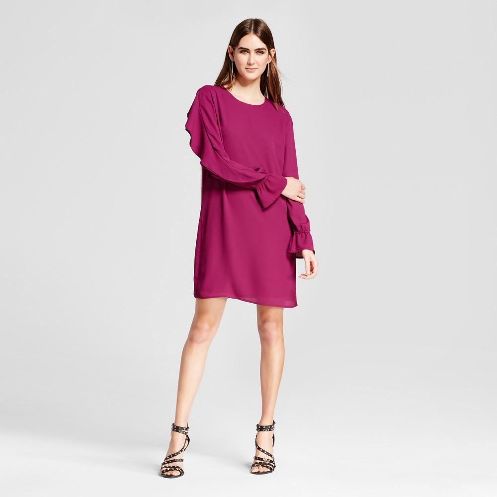Womens Flounce Long Sleeve Shift Dress - Mossimo Dark Pink L