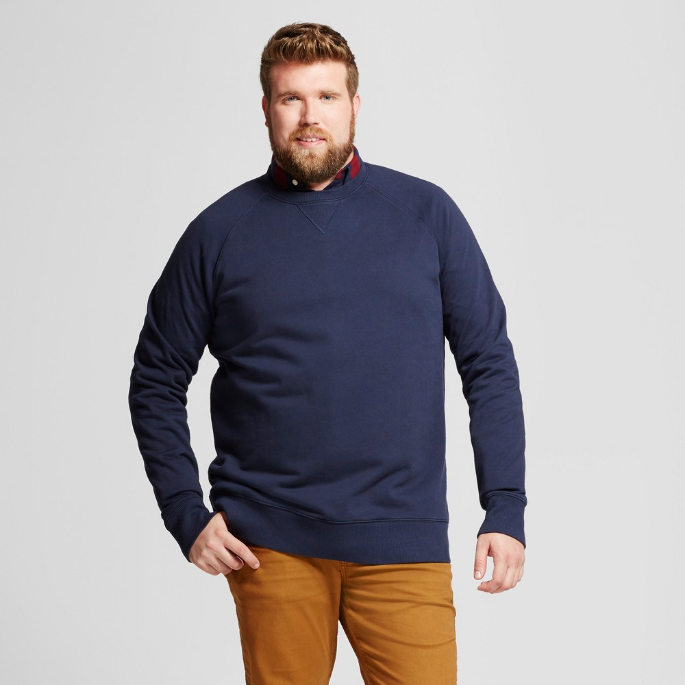 Mens Big & Tall Standard Fit French Terry Pullover Crew Sweatshirt - Goodfellow & Co Navy (Blue) MT