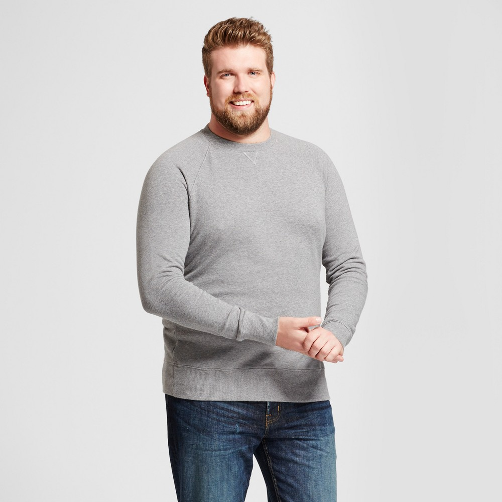 Mens Big & Tall Standard Fit French Terry Pullover Crew Sweatshirt - Goodfellow & Co Light Gray 2XB