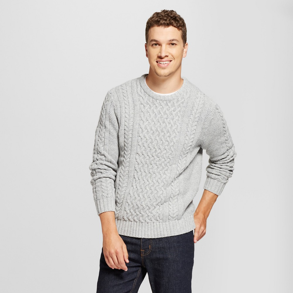 Mens Cable Crew Neck Sweater - Goodfellow & Co Gray L