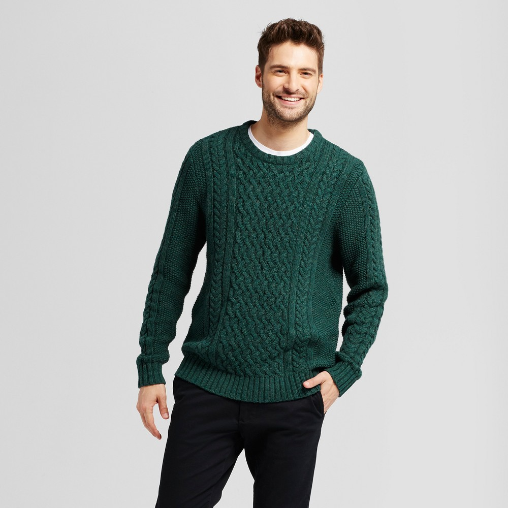 Mens Cable Crew Neck Sweater - Goodfellow & Co Green Xxl