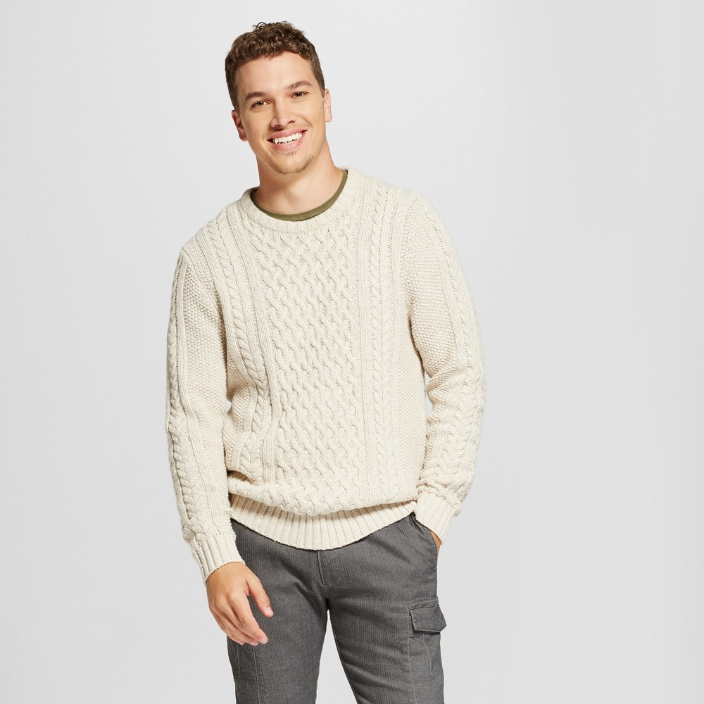 Mens Cable Crew Neck Sweater - Goodfellow & Co Oatmeal Xxl