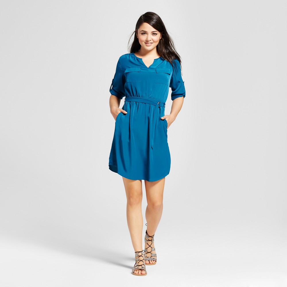 Womens Convertible Sleeve Shirt Dress - Mossimo Teal (Blue) L