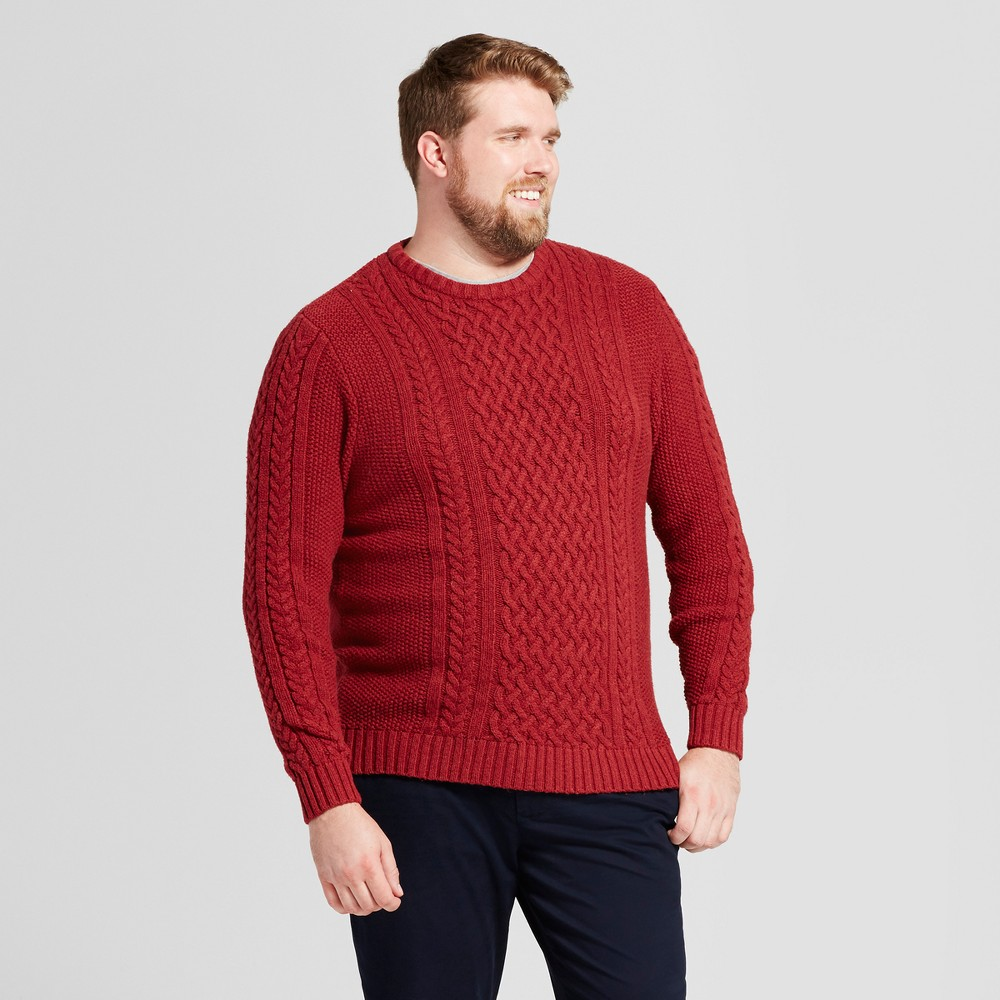 Mens Big & Tall Cable Crew Neck Sweater - Goodfellow & Co Red 2XB