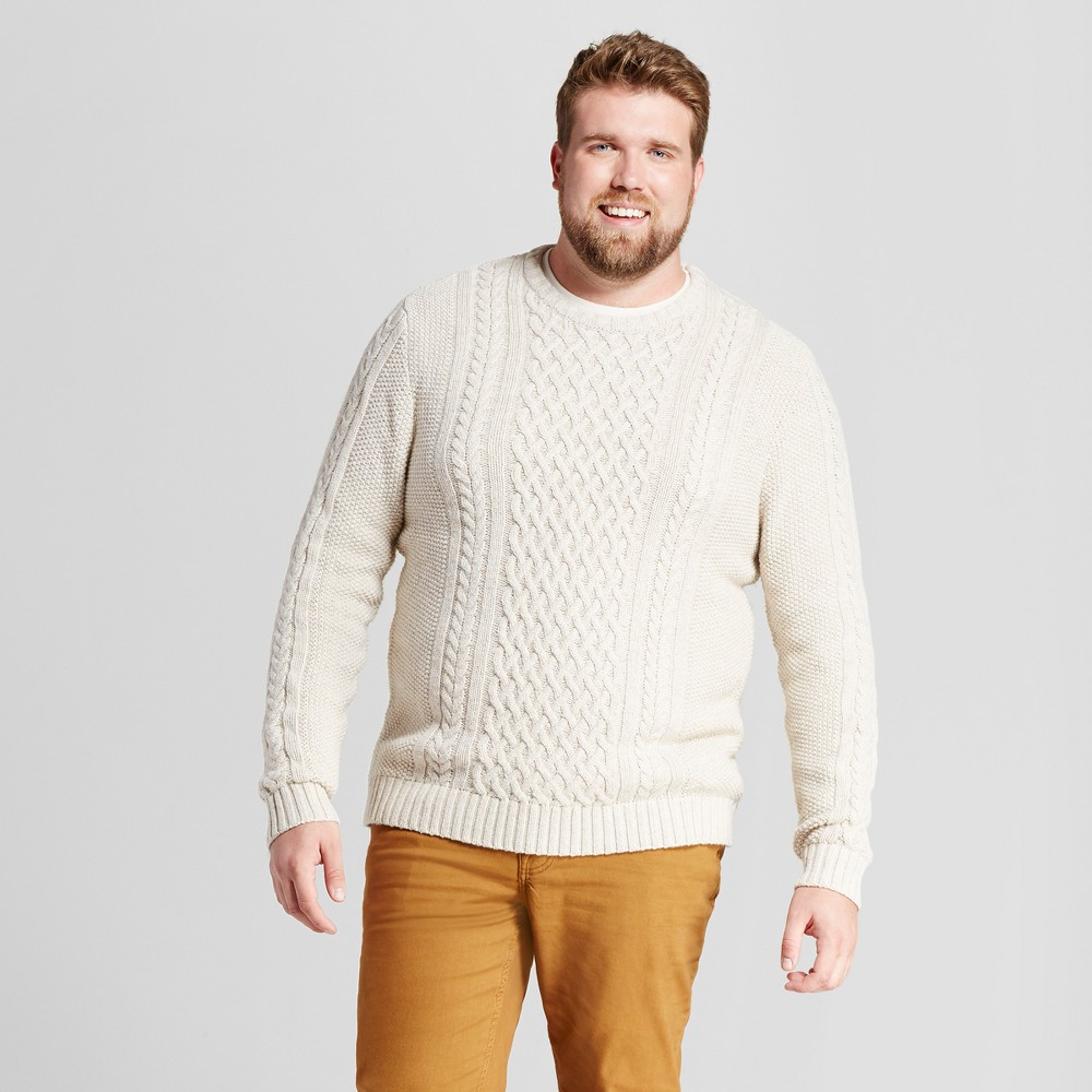 Mens Big & Tall Cable Crew Neck Sweater - Goodfellow & Co Oatmeal MT