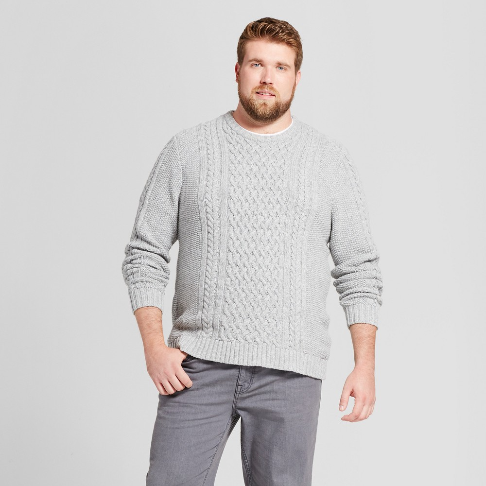 Mens Big & Tall Cable Crew Neck Sweater - Goodfellow & Co Gray MT