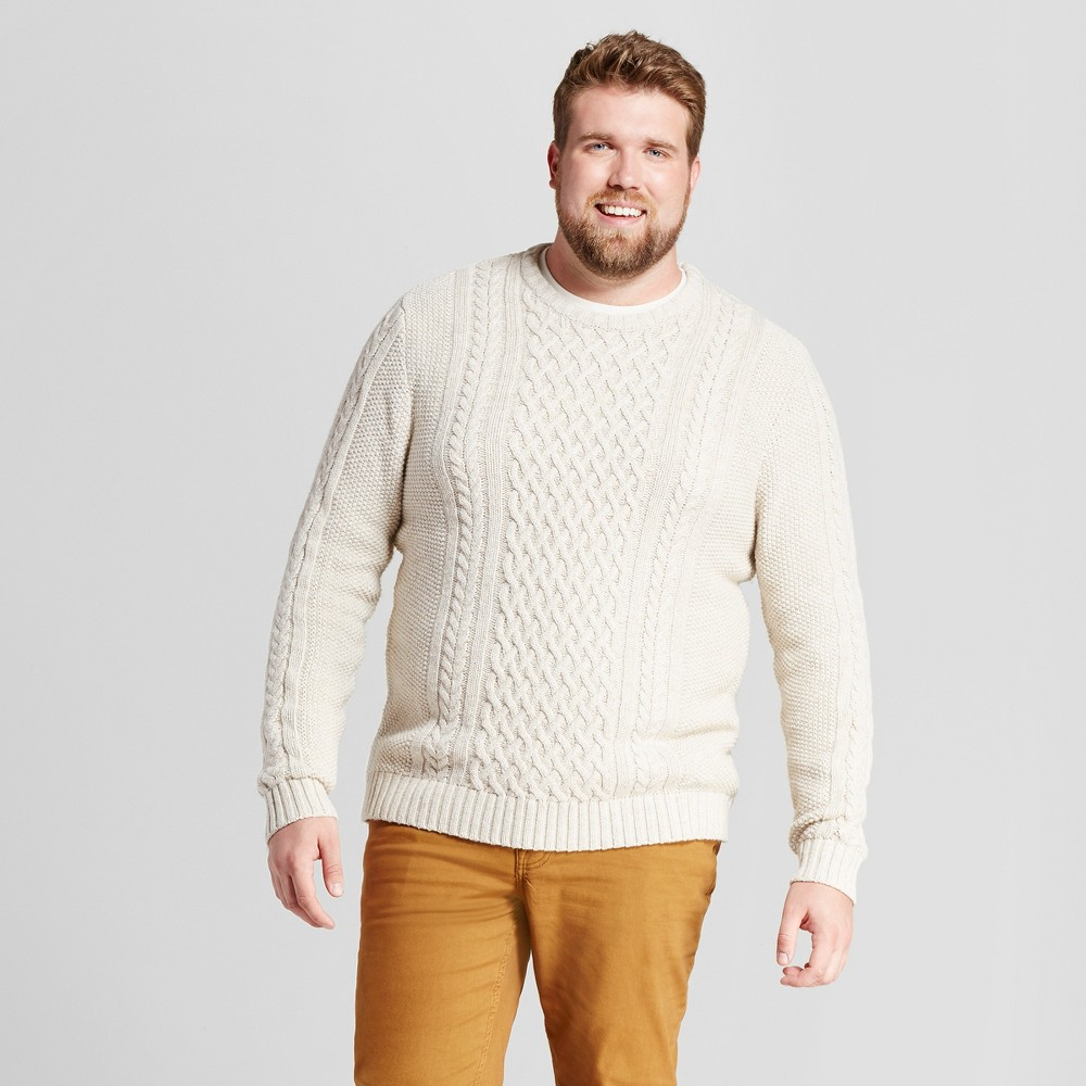Mens Big & Tall Cable Crew Neck Sweater - Goodfellow & Co Oatmeal Xlt