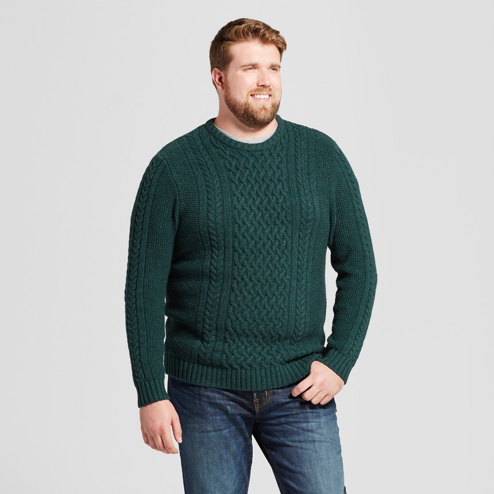 Mens Big & Tall Cable Crew Neck Sweater - Goodfellow & Co Green LT