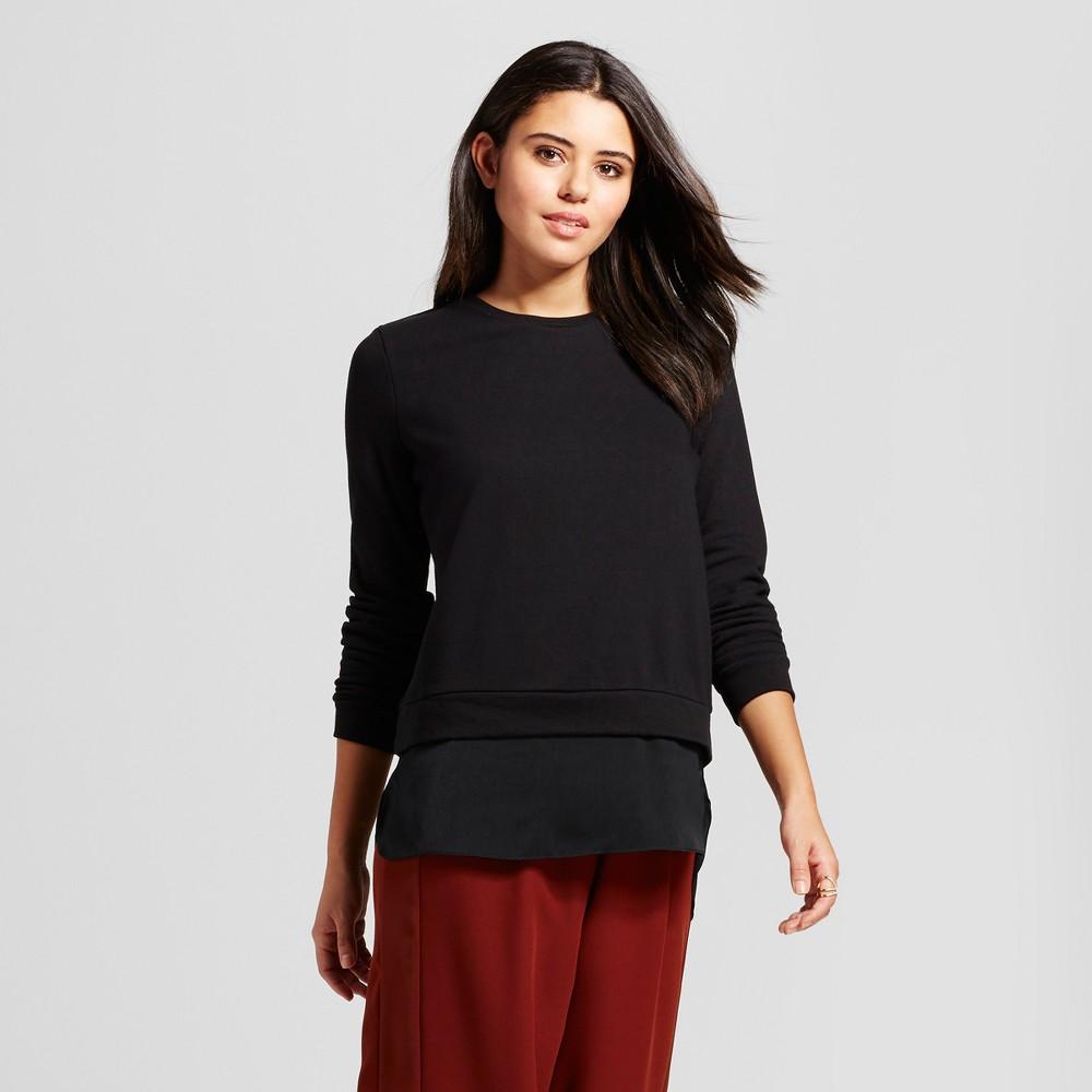Womens Long Sleeve Layered Sweater Shirt - Mossimo Black XS