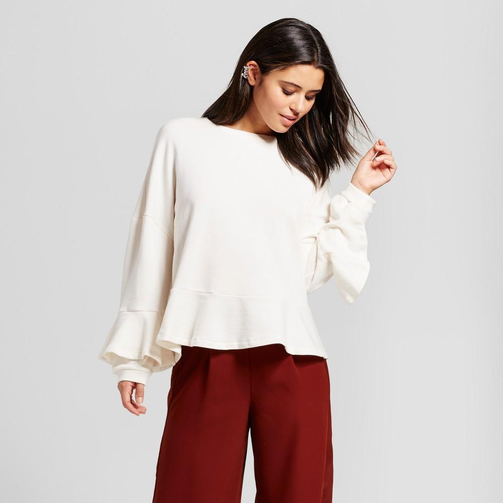 Womens Ruffle Sleeve Sweatshirt - Mossimo White L