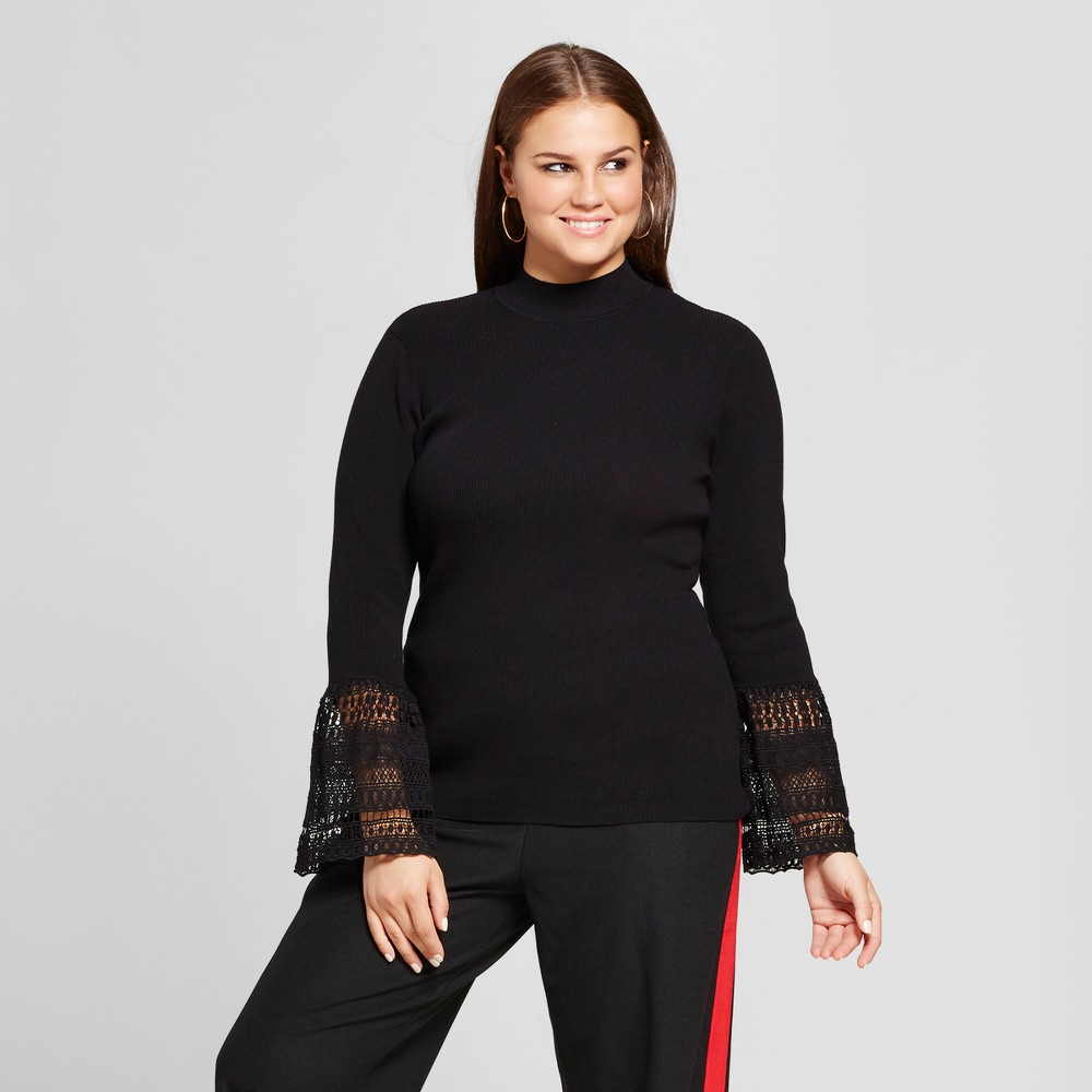 Womens Plus Size Lace Bell Sleeve Ribbed Crew - Who What Wear - Black X