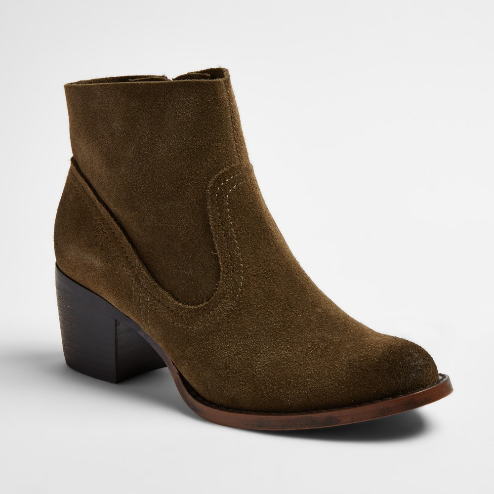 Womens Soho Cobbler Fields Suede Booties - Olive (Green) 7.5