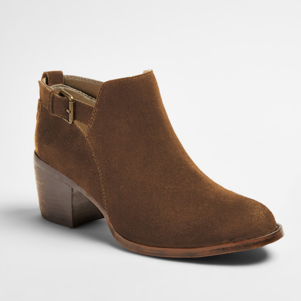 Womens Soho Cobbler Sunflower Side Buckle Suede Boots - Amber 8