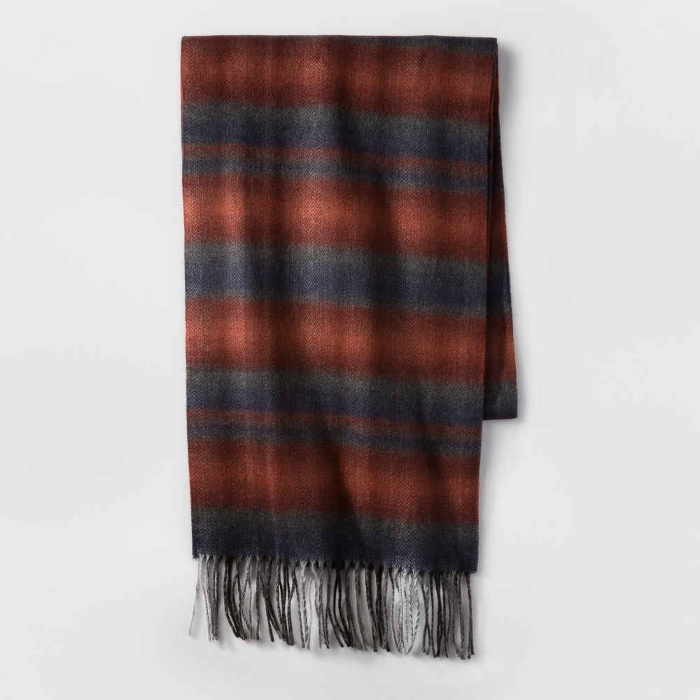 Mens Ombre Plaid Scarf - Goodfellow & Co Rust (Red) One Size