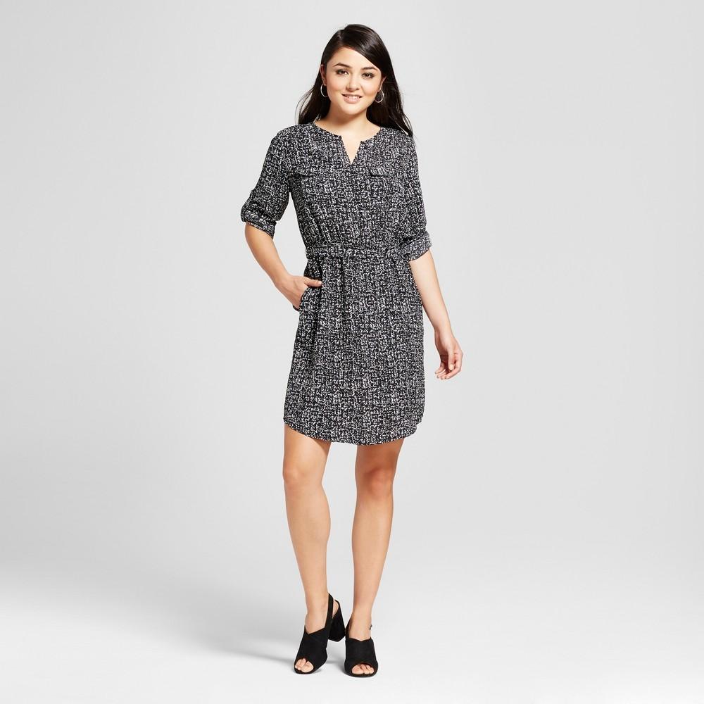 Womens Convertible Sleeve Shirt Dress - Mossimo Black/White Print S