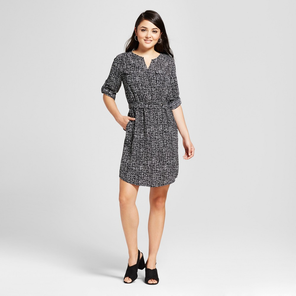 Womens Convertible Sleeve Shirt Dress - Mossimo Black/White Print XS
