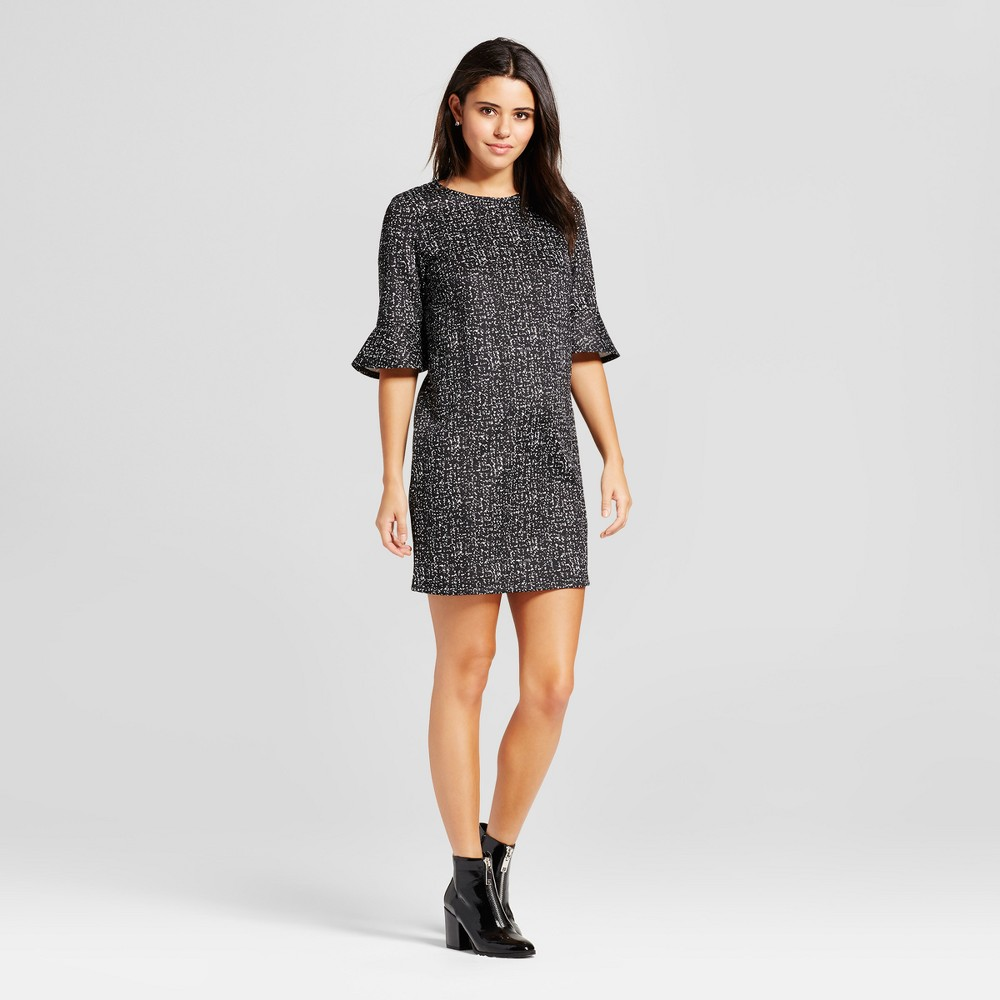 Womens Bell Sleeve Shift Dress - Mossimo Black/White Print L
