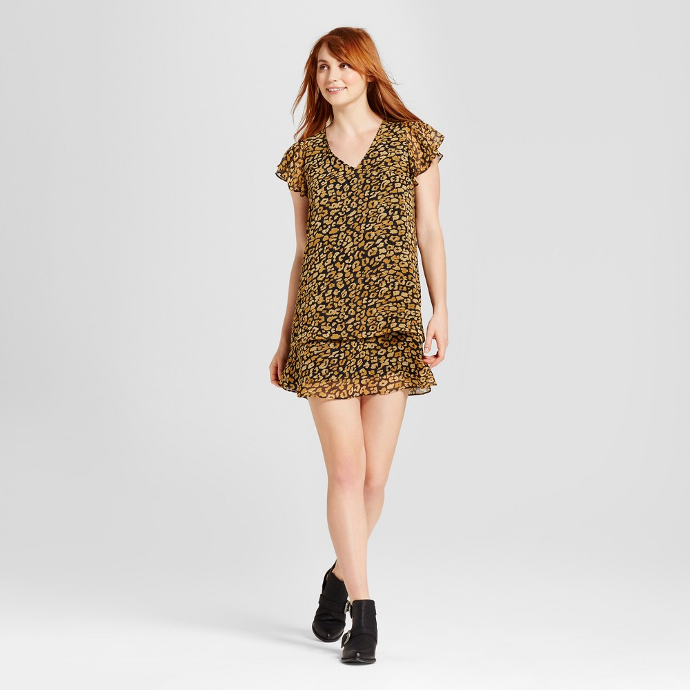 Womens Ruffle Dress - Who What Wear Cheetah Print XS