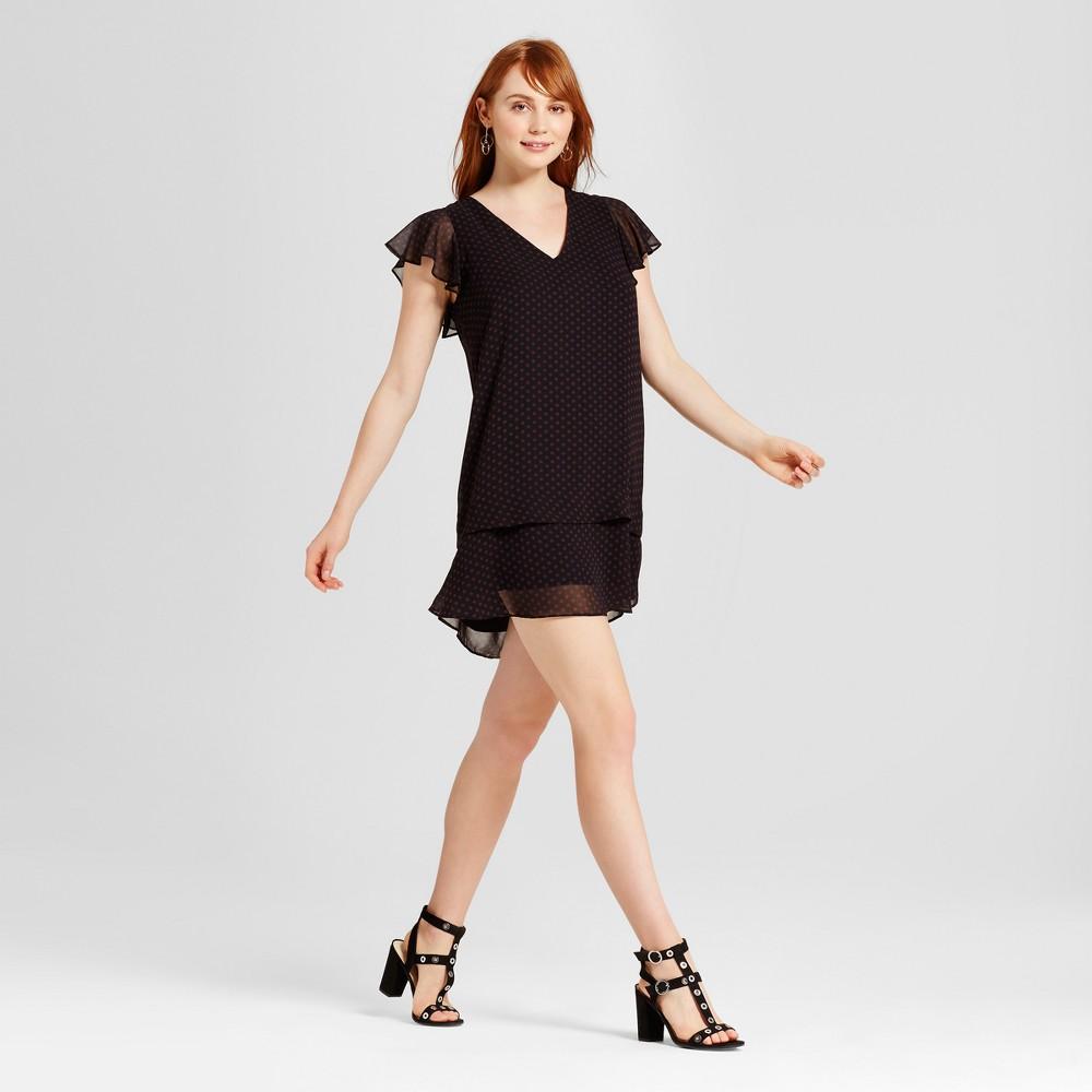 Womens Ruffle Dress - Who What Wear Black Polka Dot XS