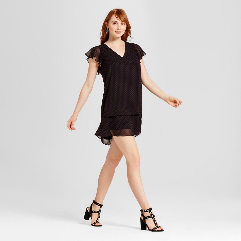 Womens Ruffle Dress - Who What Wear Black Polka Dot S