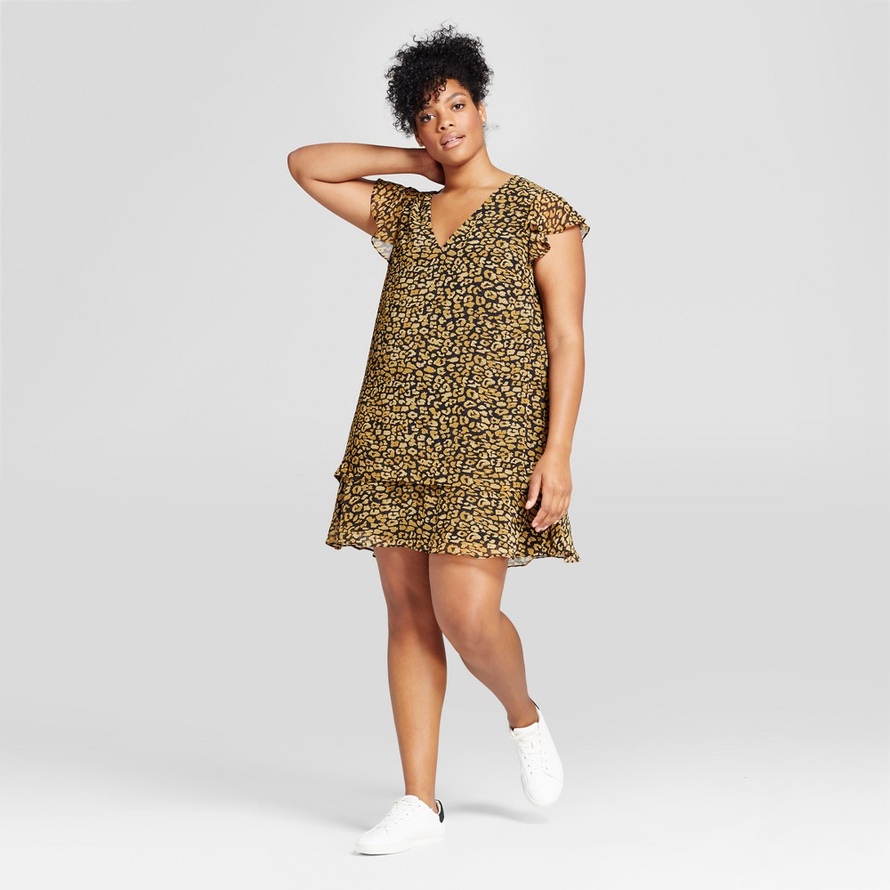Womens Plus Size Ruffle Dress - Who What Wear Cheetah Print 4X