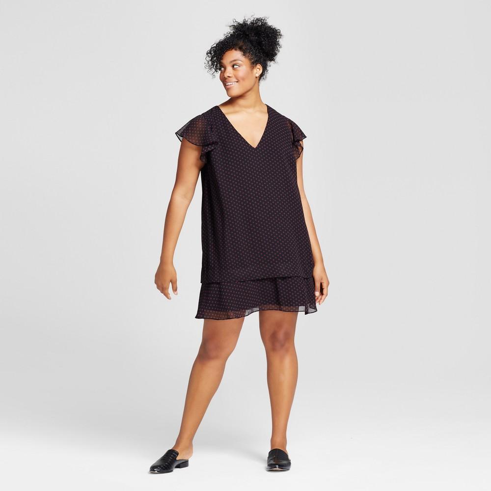 Womens Plus Size Ruffle Dress - Who What Wear Black Polka Dot 4X
