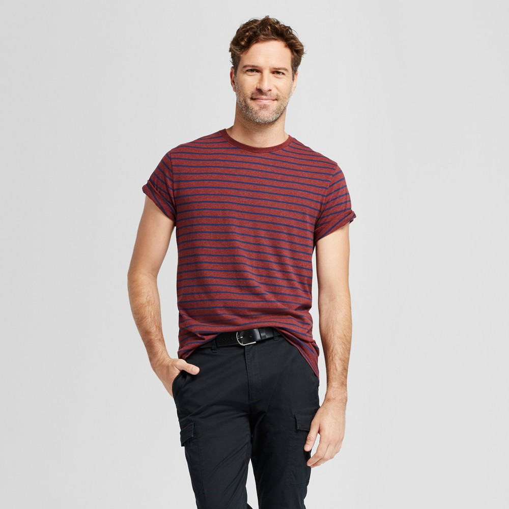 Mens Standard Fit Spacedye Short Sleeve Crew T-Shirt - Goodfellow & Co Burgundy (Red) S