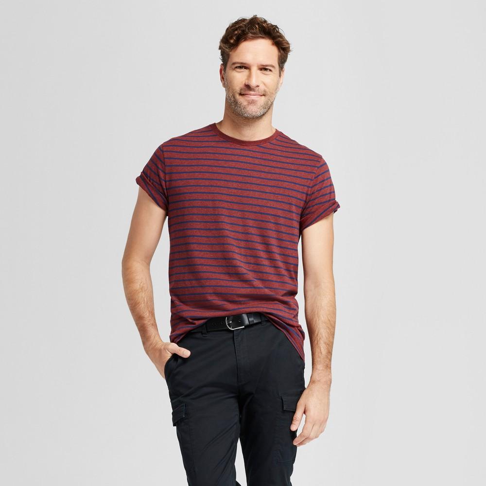 Mens Standard Fit Spacedye Short Sleeve Crew T-Shirt - Goodfellow & Co Burgundy (Red) L