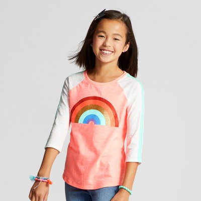 view Girls' 3/4 Sleeve Rainbow Facts Baseball T-Shirt - Cat & Jack Peach on target.com. Opens in a new tab.
