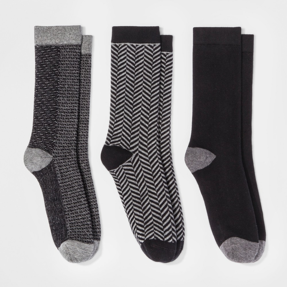 Womens 3pk Crew Socks - A New Day Black Mixed Texture One Size, Multi-Colored